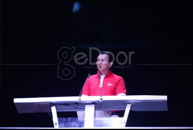 Gubernur DKI Jakarta Basuki Tjahja Purnama memberikan sambutan sekaligus membuka Gading Nite Carnival 2015
